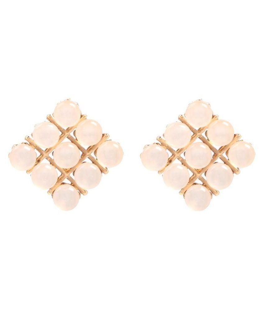 GoldNera Alloy Studded Gold Coloured Earrings