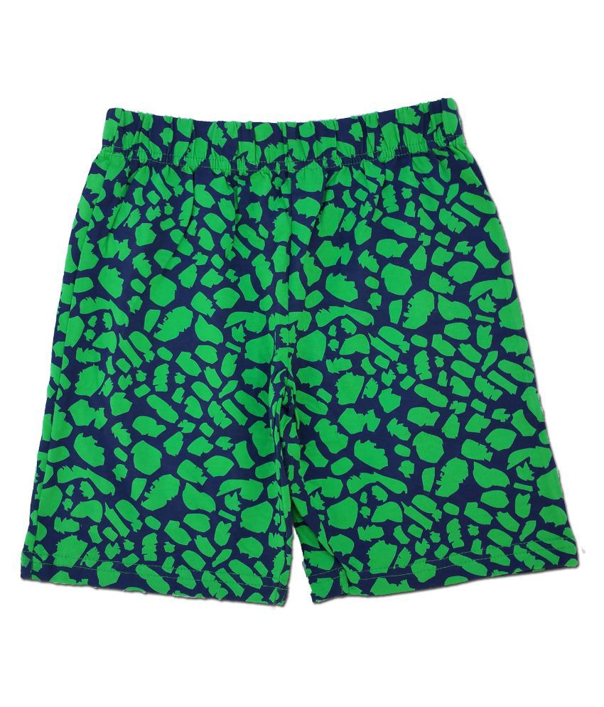 Snoby Green Cotton Shorts