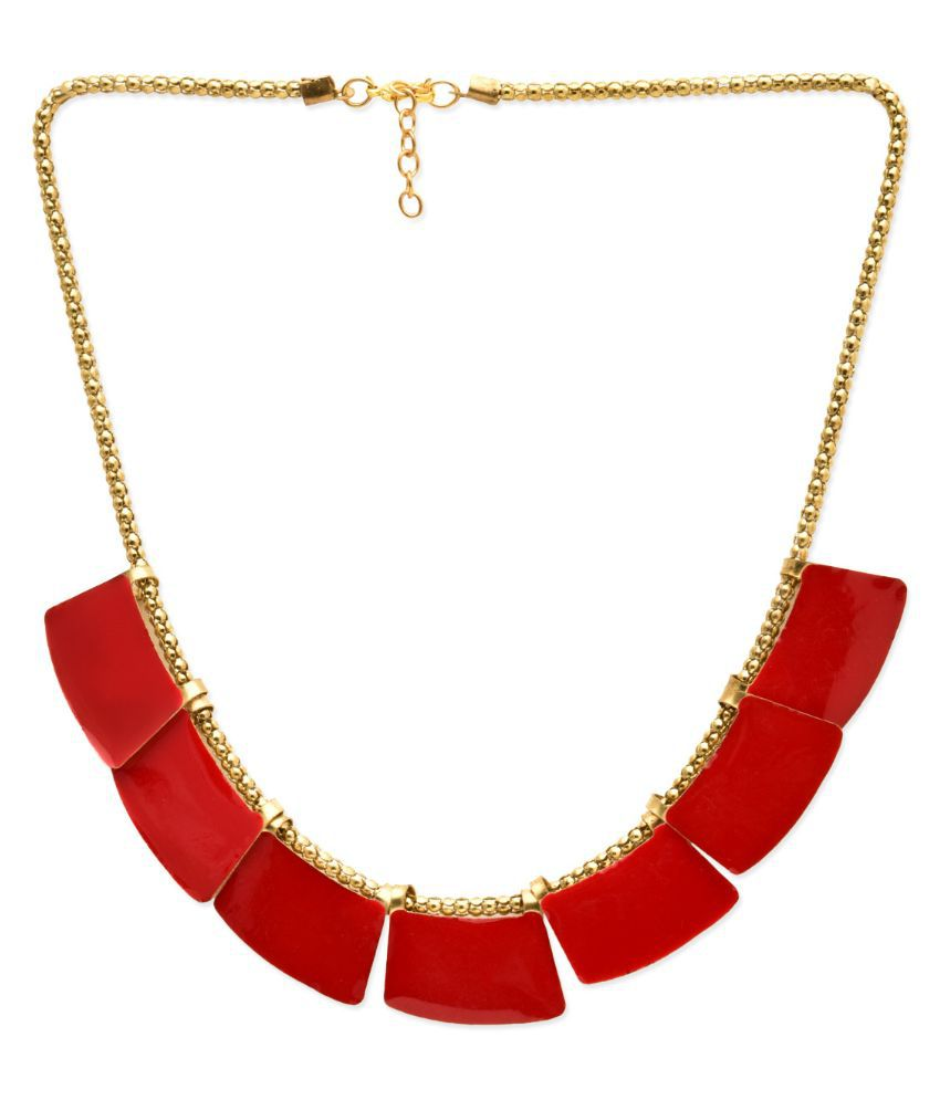 StarShop20 Alloy Studded Red Coloured Necklace