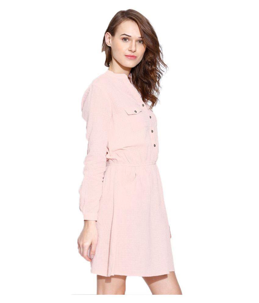 70b31c0b2d68 Vaak Pink Cotton Midi Dress - Buy Vaak Pink Cotton Midi Dress Online ...