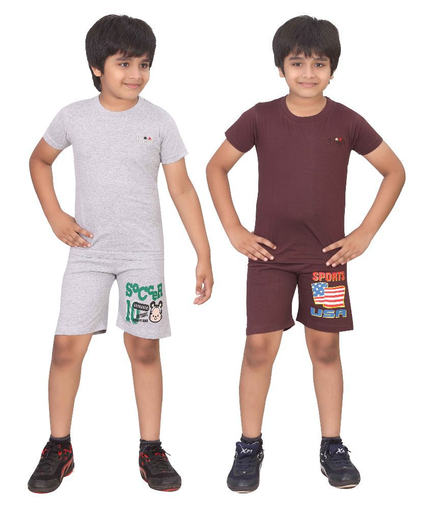 Dongli Multicolour Cotton T-Shirt and Shorts - Pack of 2