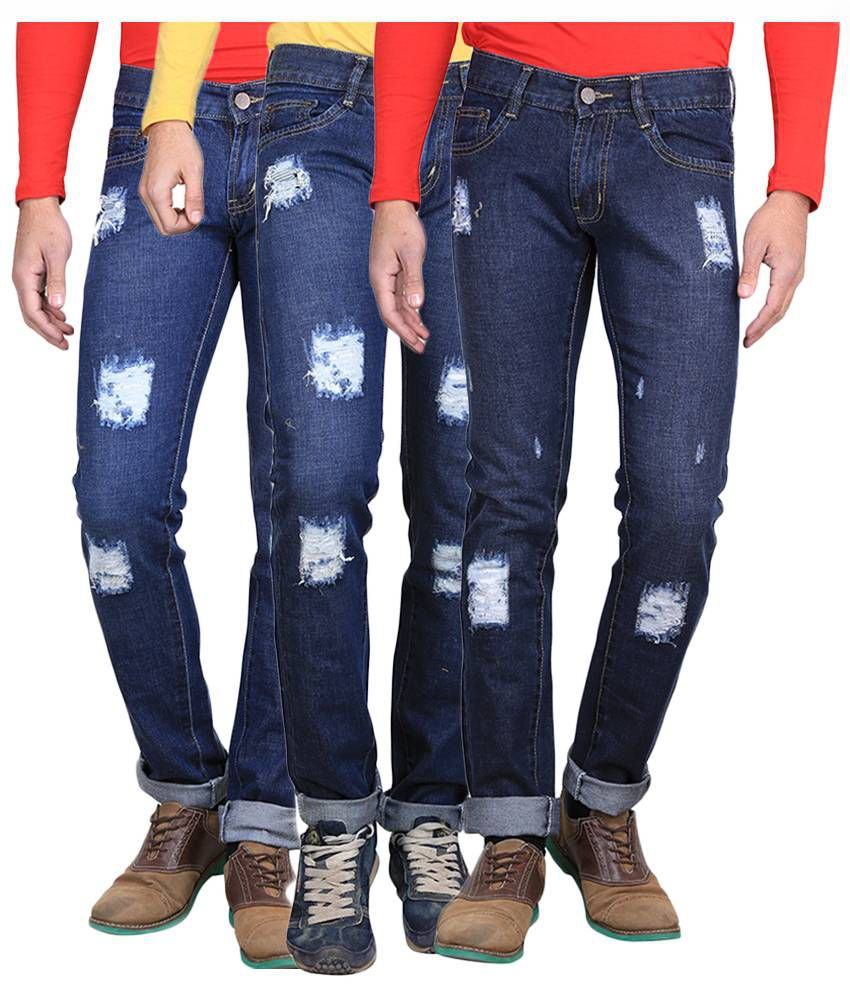 AVE Blue Regular Fit Distressed Jeans Pack of 3