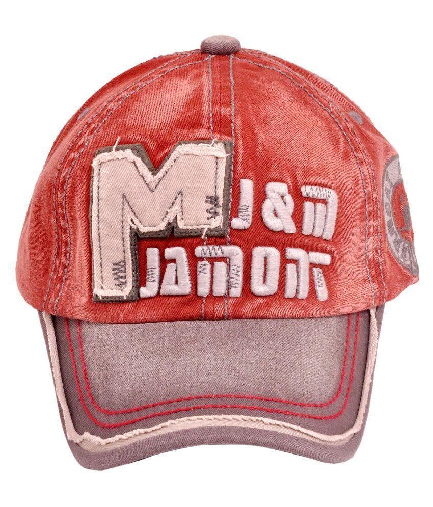 Maxpro Red Cotton Baseball Cap For Men
