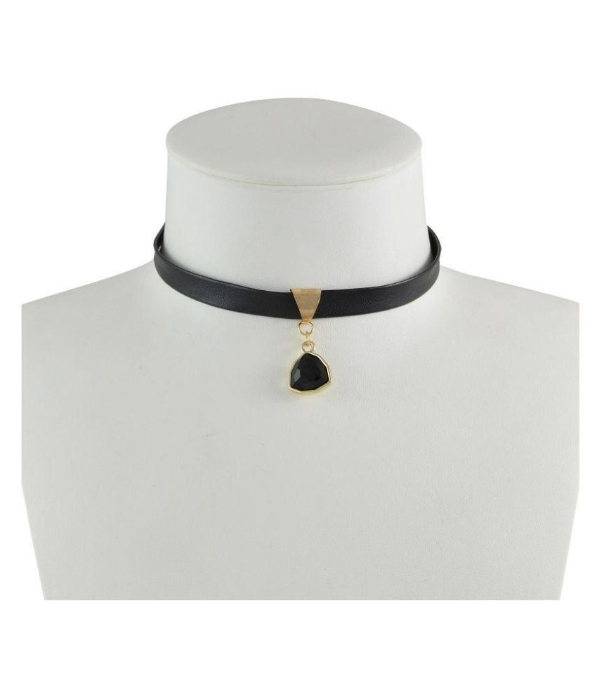 Sarah Leather Studded Black Coloured Necklace
