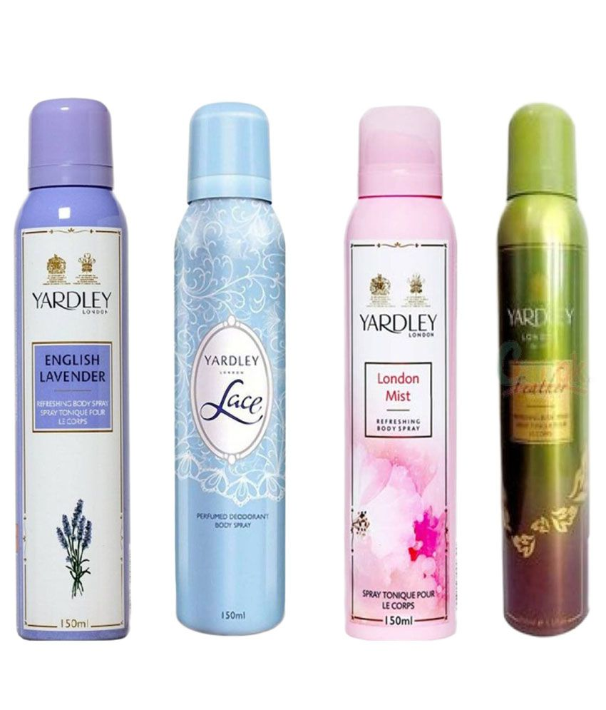 Yardley Combo of English Lavender, Lace, London Mist and Feather Deo 150 ml Each