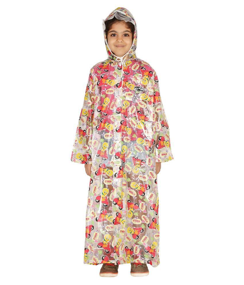Zeel Multicolour Viscose Raincoat For Girls