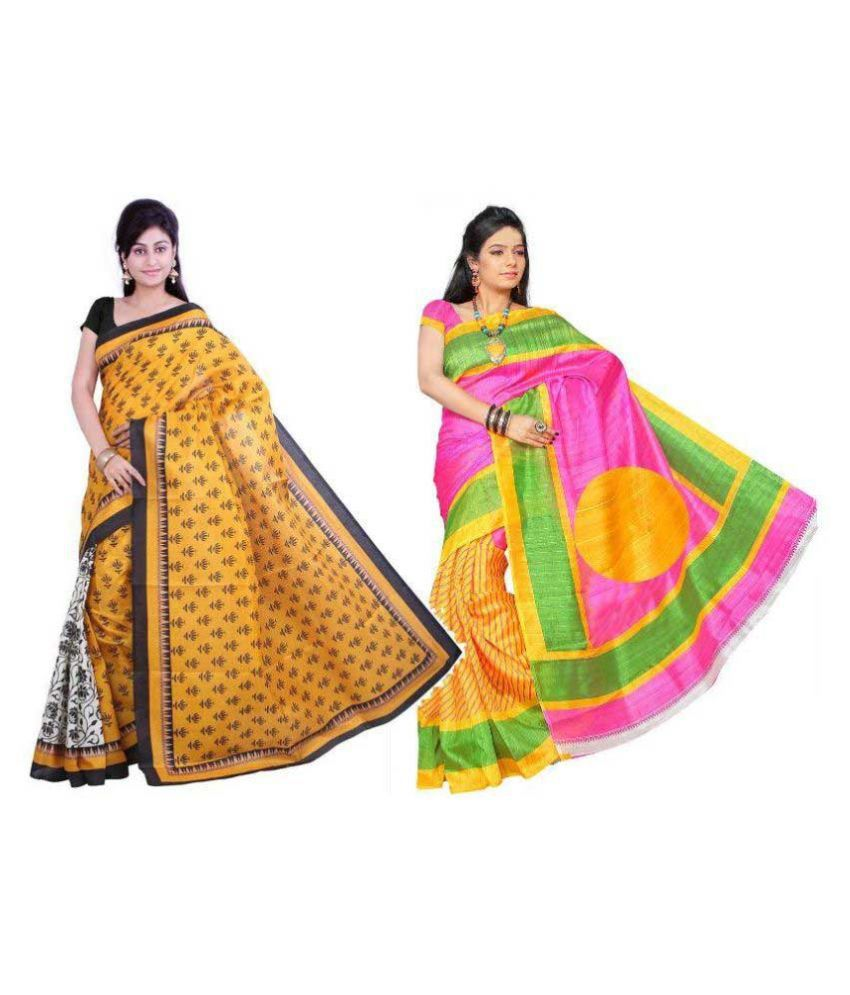 Muta Fashions Multicoloured Bhagalpuri Silk Saree Combos