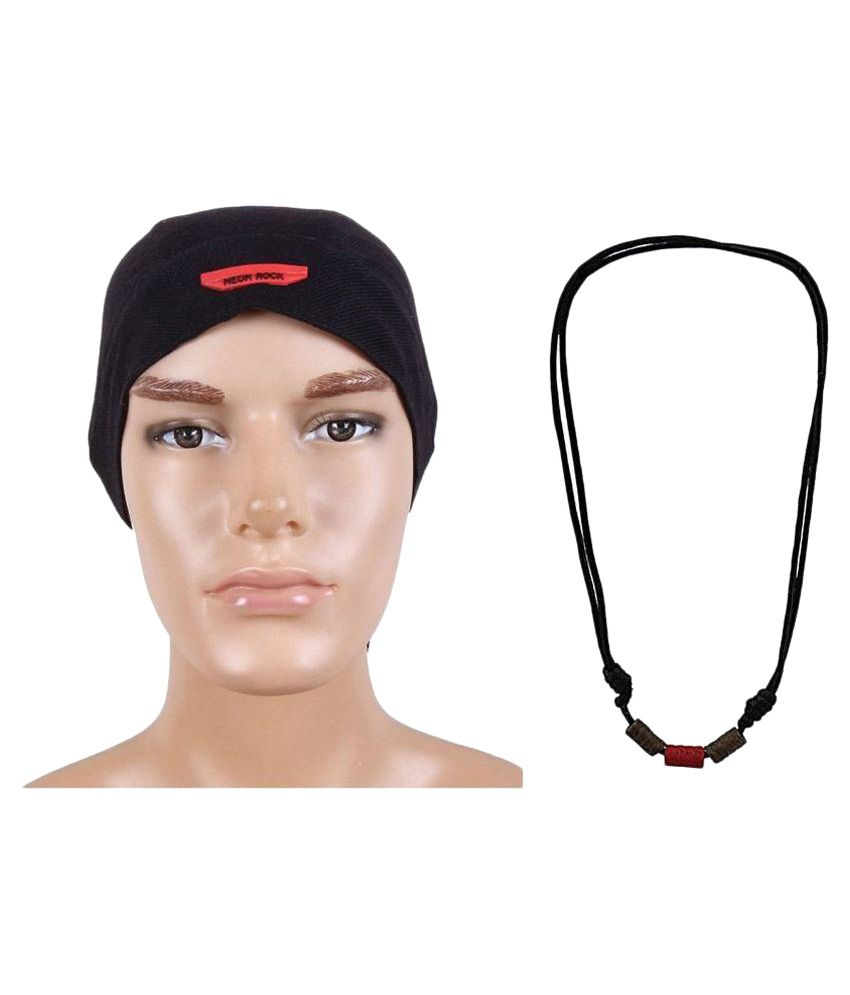 Sushito Black Polyester Headwrap with Mala
