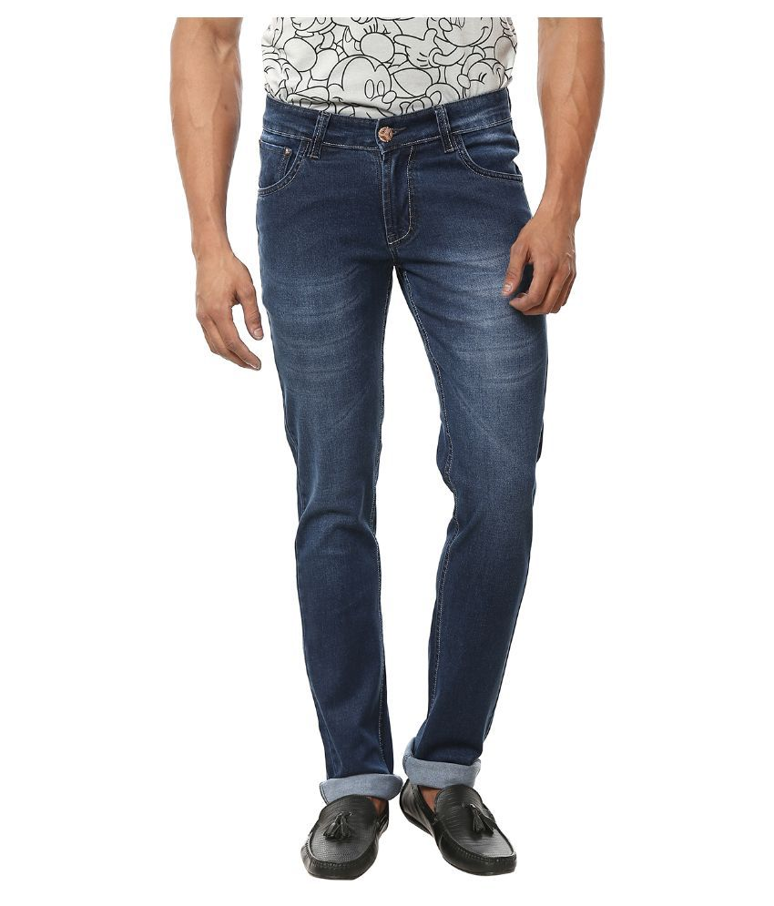 Knock Out Blue Regular Fit Faded Jeans