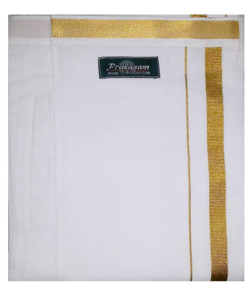 Prakasam Cotton White Cotton Velcro Dhoti with Pocket