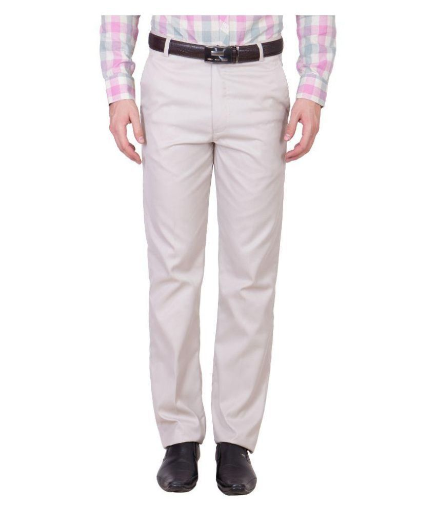 Cliths Beige Slim Fit Flat Trousers Pack of 1