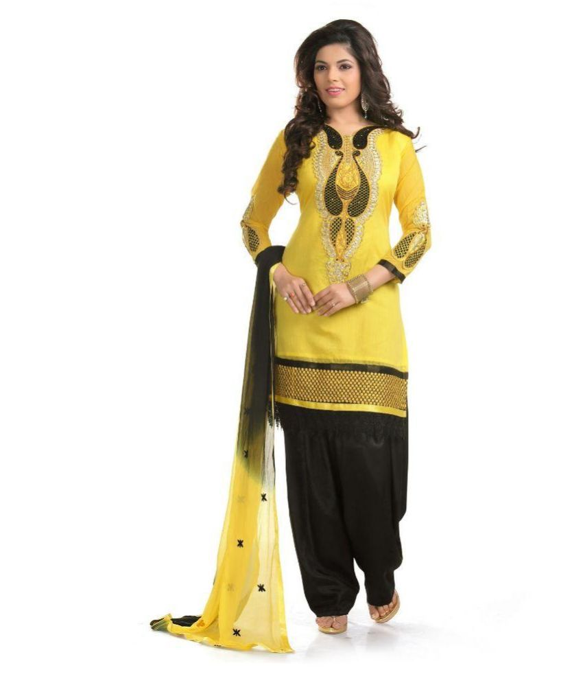 Cool Women Yellow Cotton Straight Unstitched Dress Material