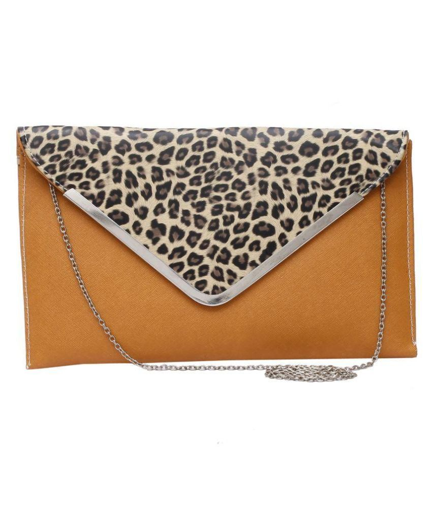 D Price Brown Faux Leather Clutch