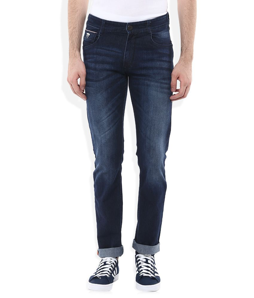 John Players Blue Slim Fit Faded Jeans