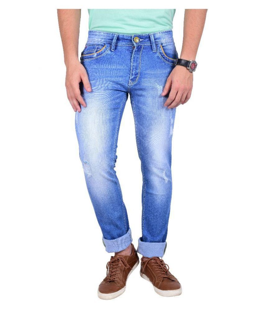 Moka Blue Slim Fit Solid Jeans