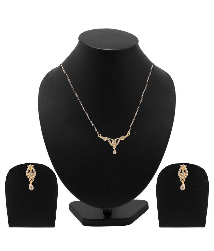 Voylla Alloy Gold Plating Cubiz Zirconia Studded Gold Coloured Mangalsutra Set