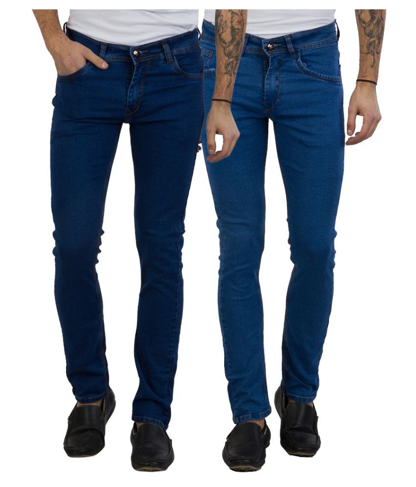 Cladien (Since 1958) Blue Slim Fit Solid Jeans Pack of 2