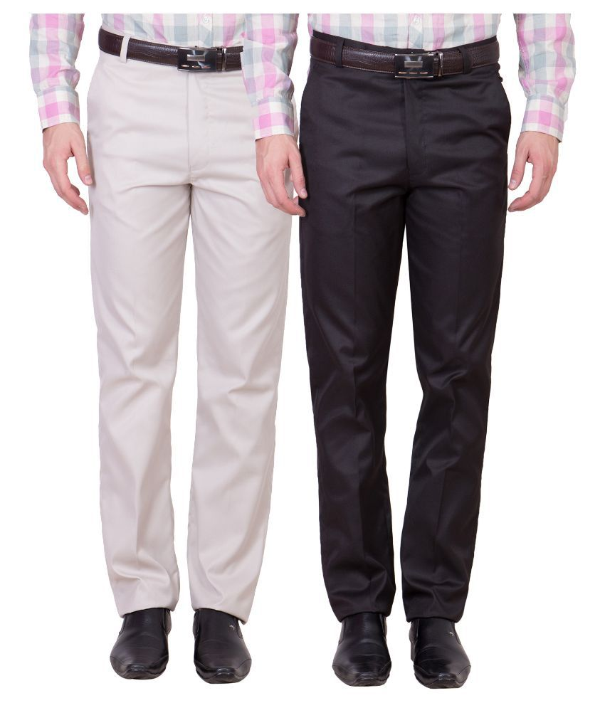 Cliths Multi Slim Fit Flat Trousers Pack of 2
