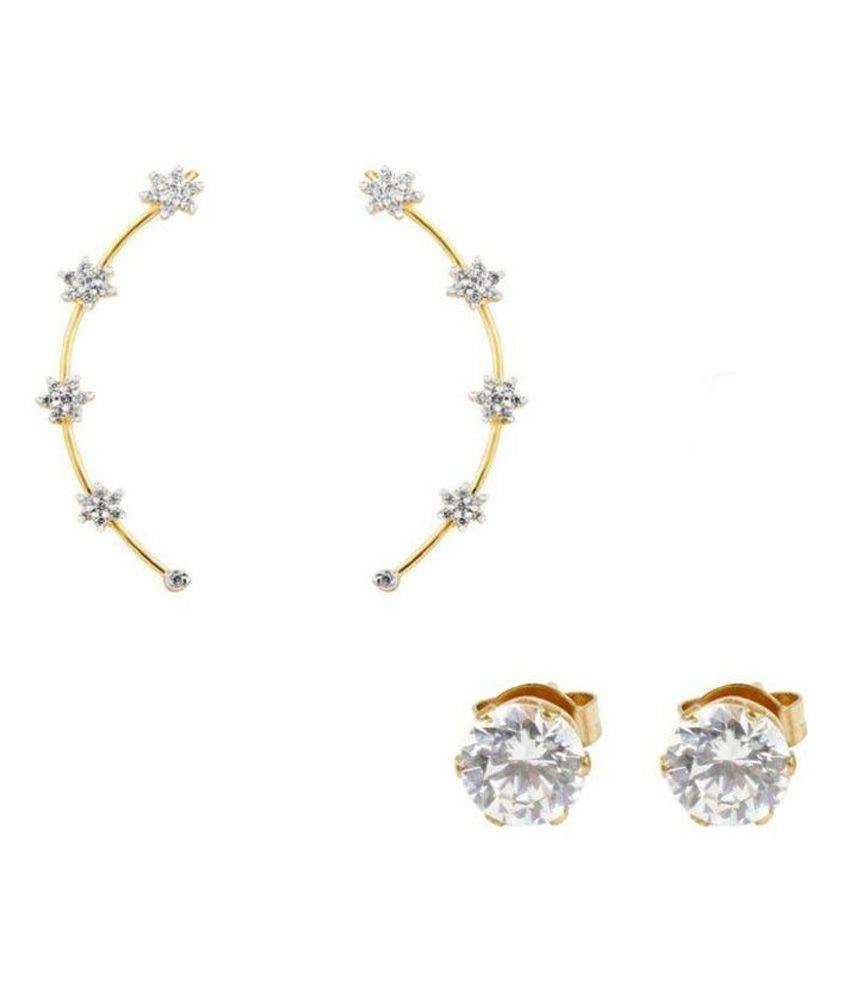 Jewels Guru Brass Rhodium Plating American diamonds Studded White Coloured Earrings Combo