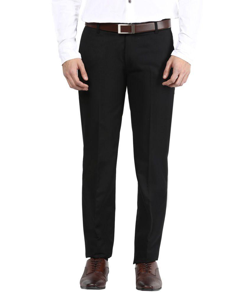 Bukkl Black Slim Fit Flat Trousers