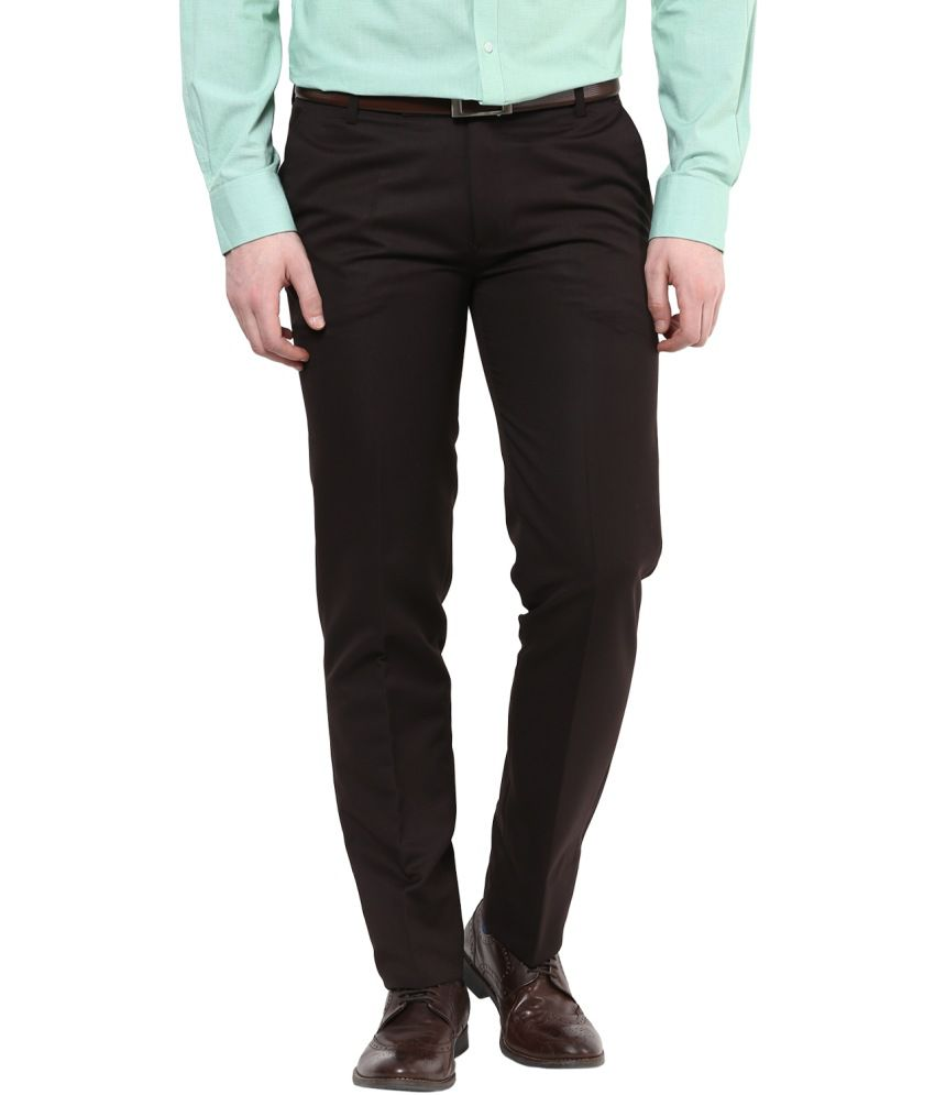 BUKKL Brown Slim Flat Trouser