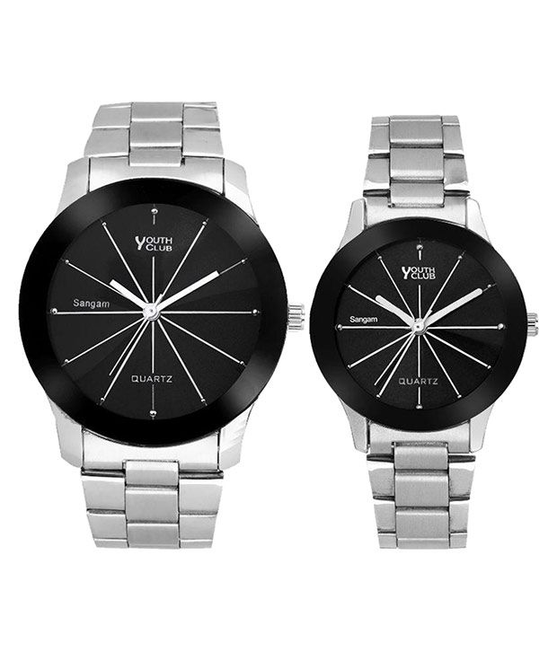 Youth Club Silver Metal Analog Couple Watch