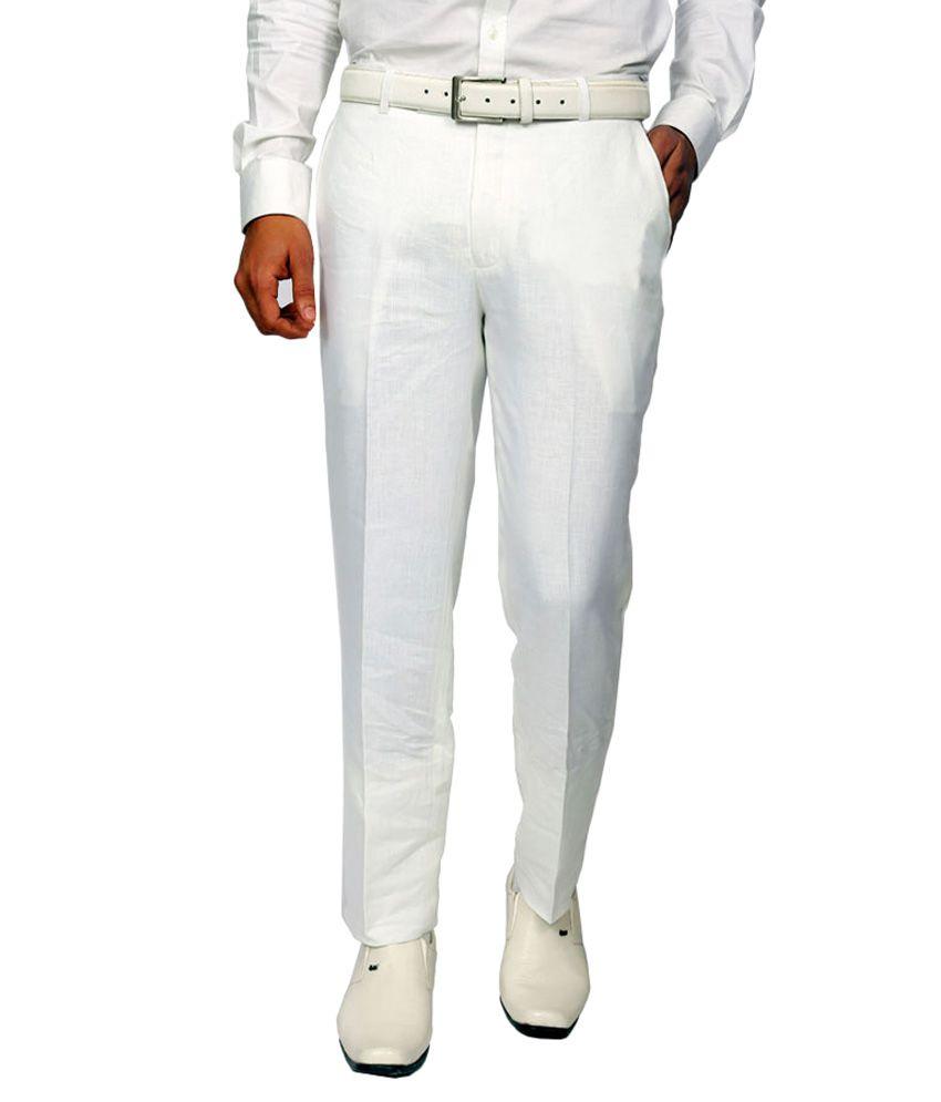 Granite White Regular Fit Flat Trousers