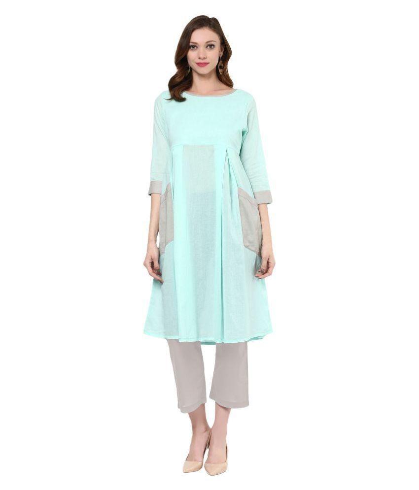 Saree Mall Green Cotton Straight Kurti
