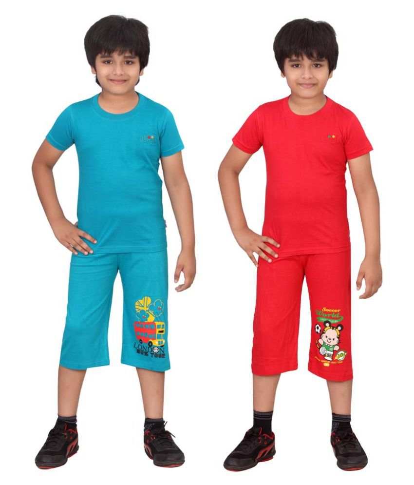 Dongli Multicolour Cotton T-Shirt and Three Fourth for Boys - Pack of 2