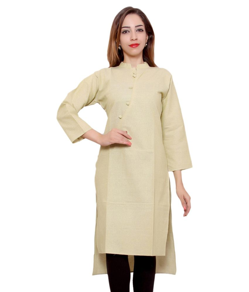 Morcee Beige Cotton Straight Kurti