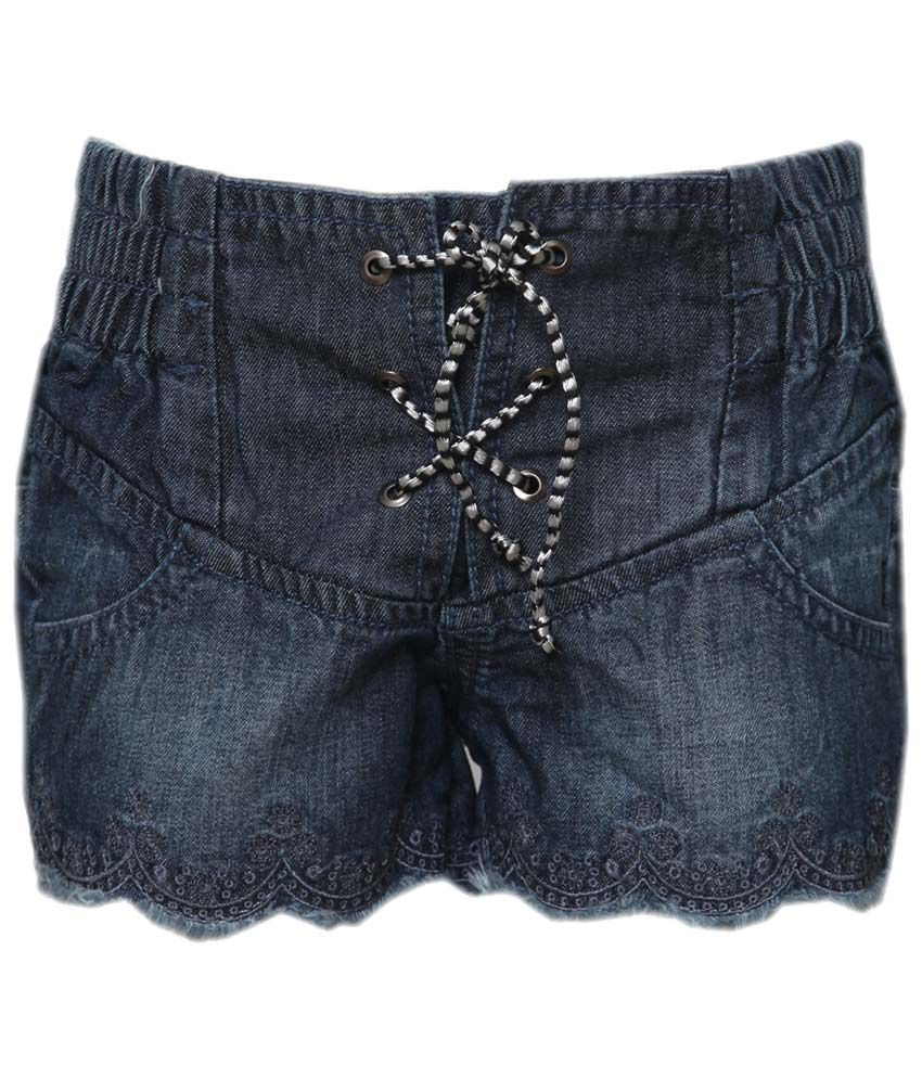 Tales & Stories Dark Blue Solid Girls Shorts