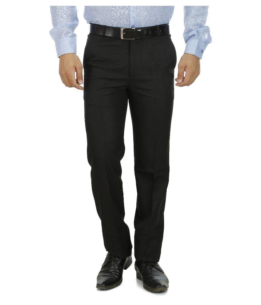 Shadow Black Regular Flat Trouser