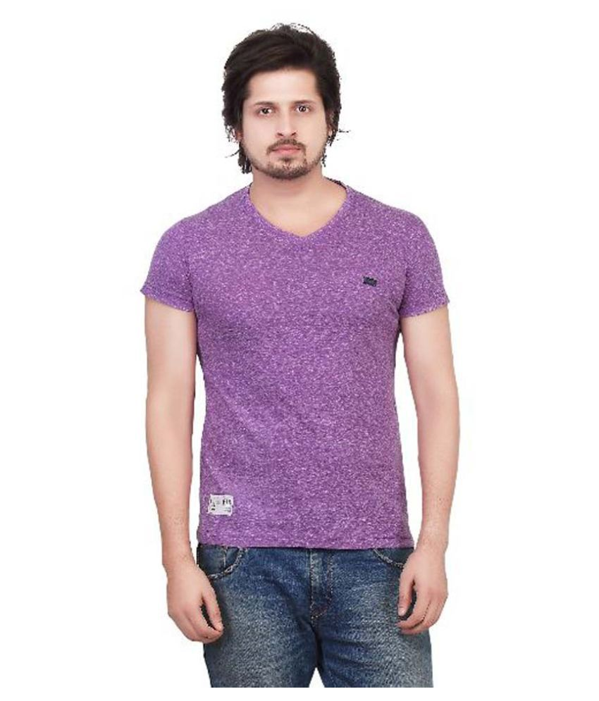Kkoir Purple V-Neck T Shirt