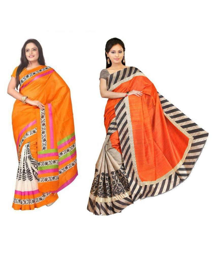 Muta Fashions Multicoloured Crepe Saree Combos