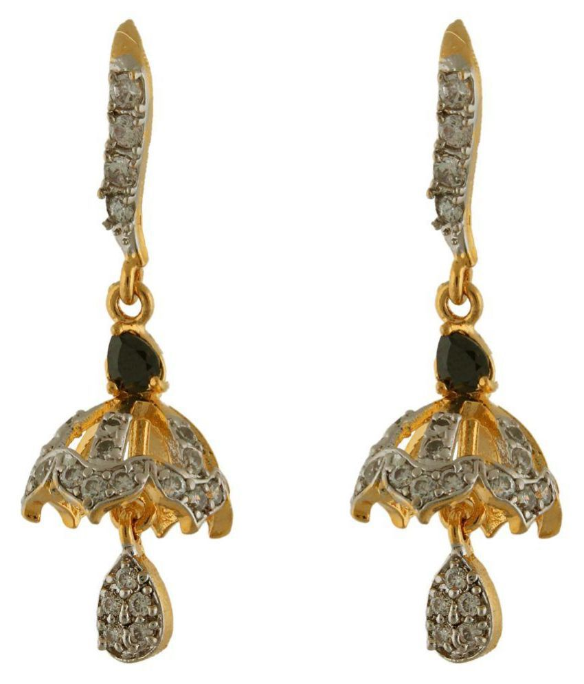 Fasherati Alloy Studded Gold Coloured Earrings
