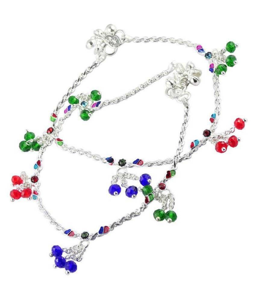 Fluck Alloy Silver Plating Crystal Studded Multi Coloured Pair Of Anklets