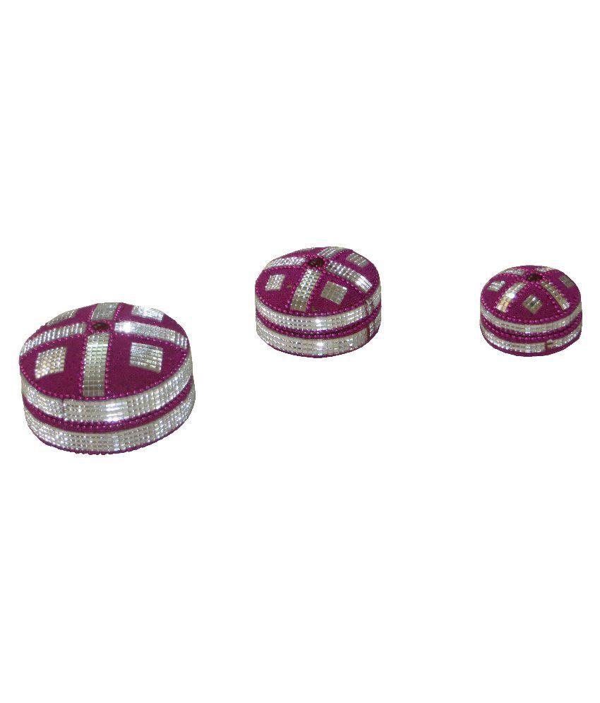 Antiqua V Group Aluminum Pearls Studded Purple Coloured Jewellery Box - Set Of 3