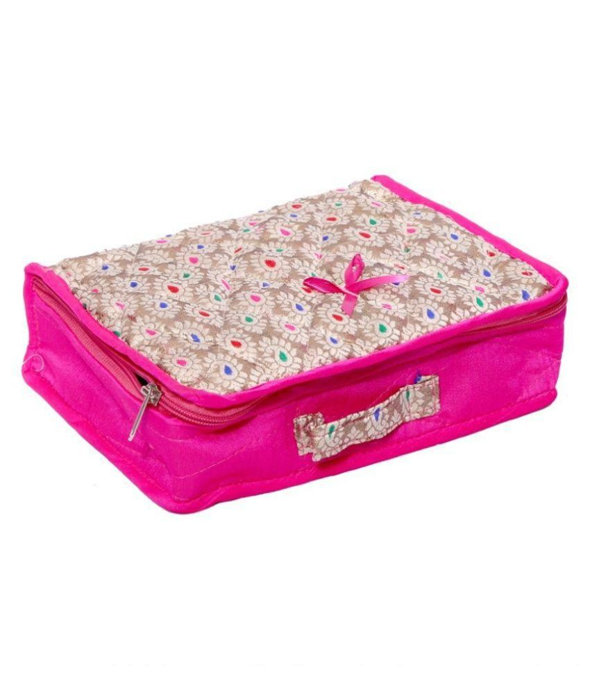 Kuber Industries Fabric Studded Pink Coloured Jewellery Box