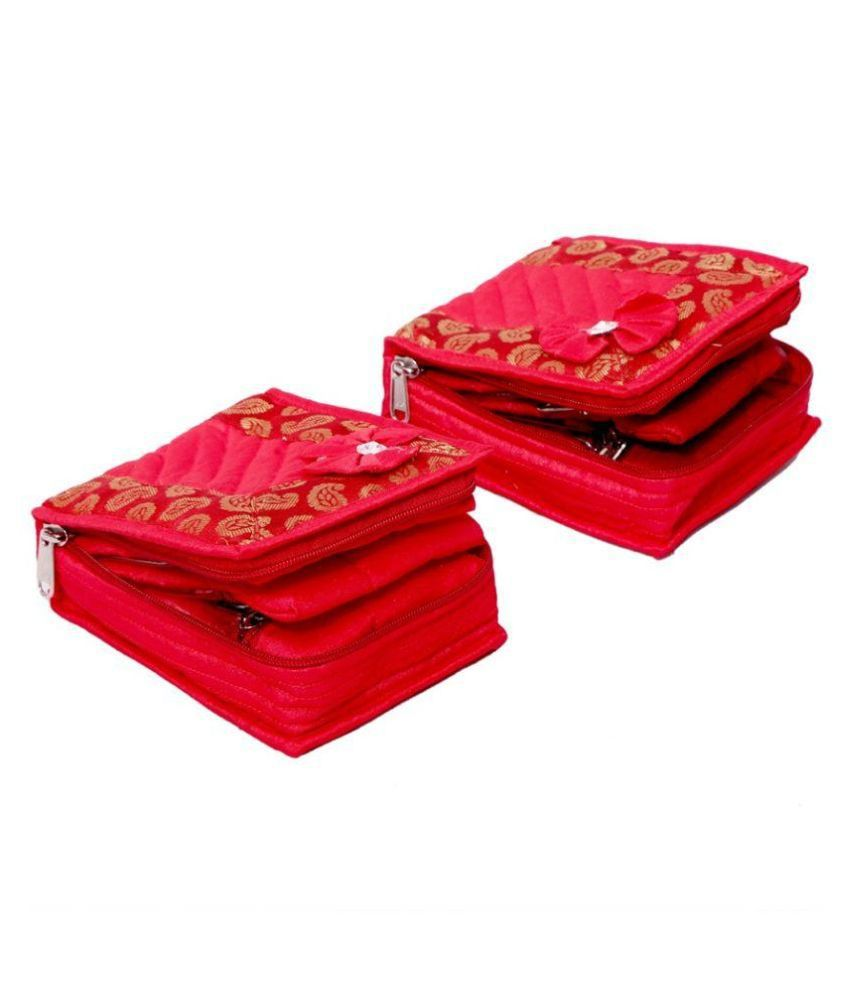 Kuber industries Fabric Studded Red Coloured Jewellery Box