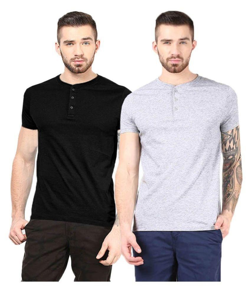 Gallop Multi Henley T-Shirt Pack of 2