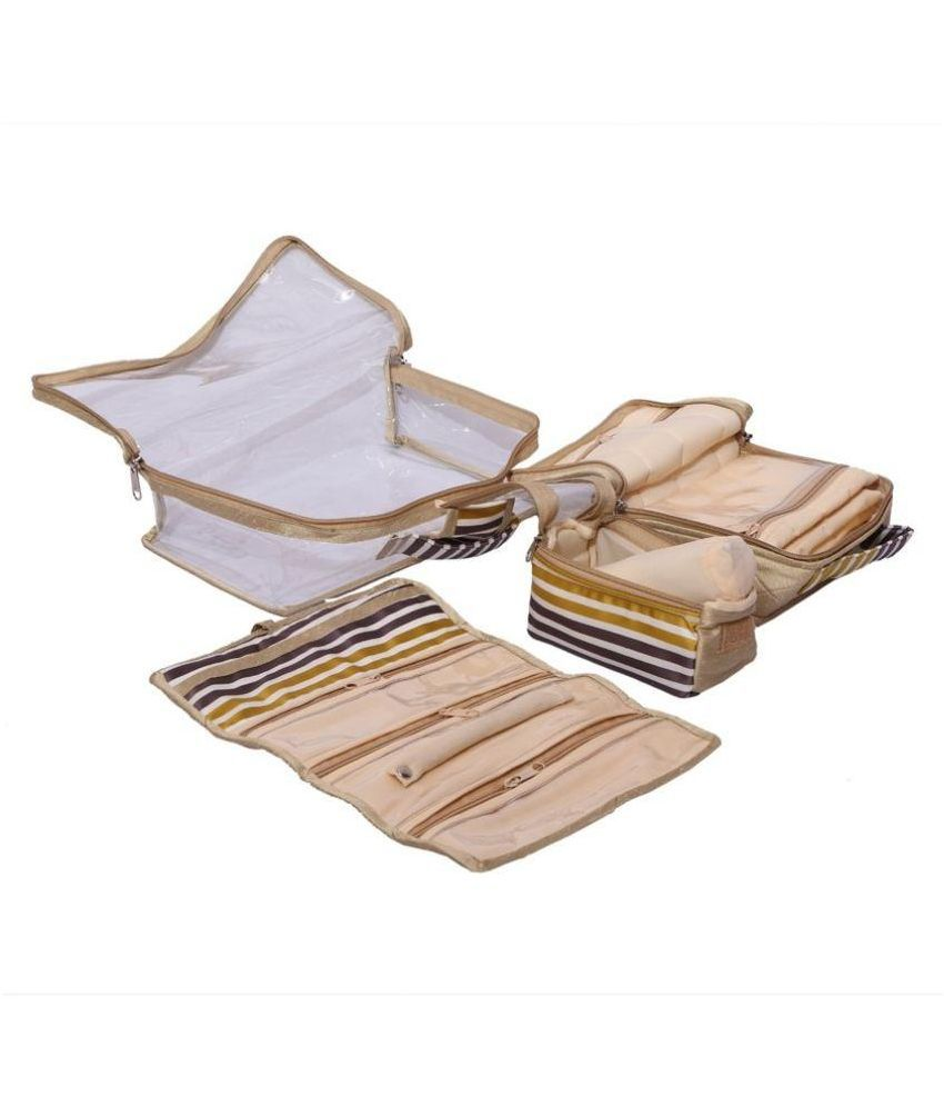 Kuber Industries Beige Jewellery Kit, Bangle Kit, Payal Kit, Make Up Kit 4 Pcs Set in One box (Beige)
