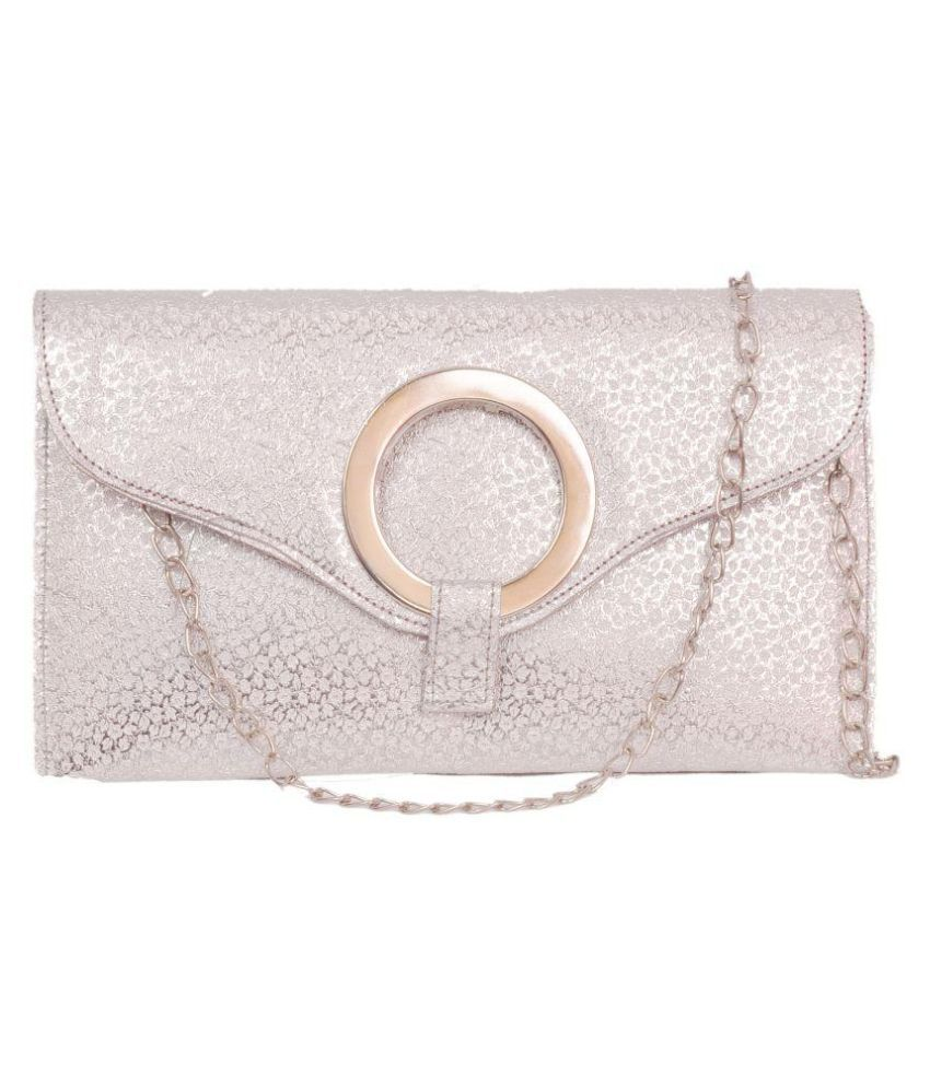 Speed Dot Silver Fabric Clutch