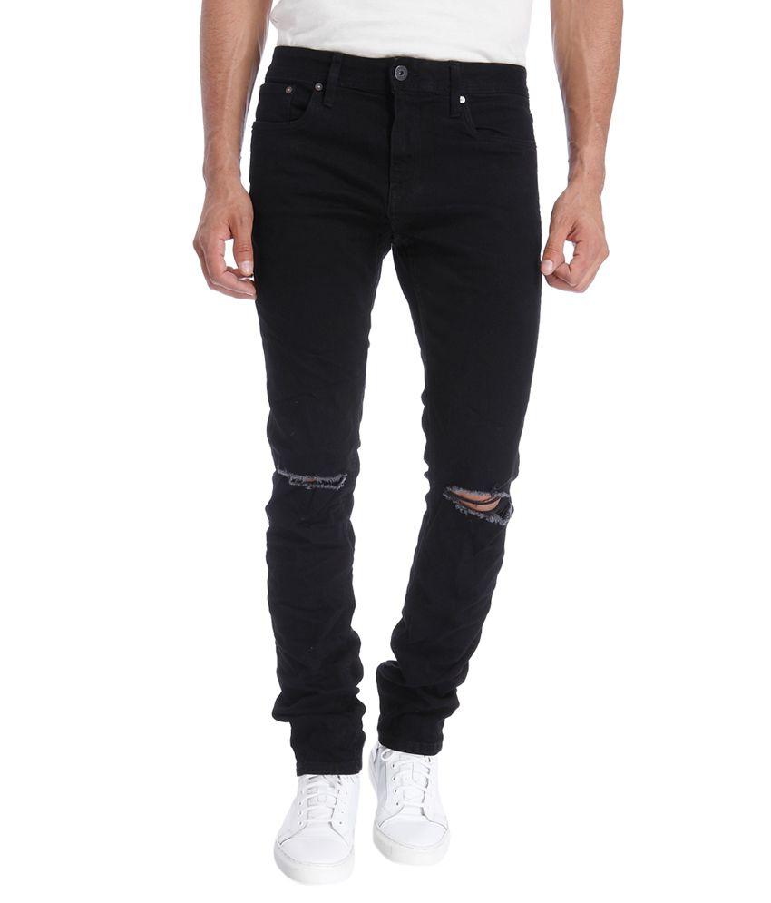 Jack & Jones Black Slim Fit Solid Jeans