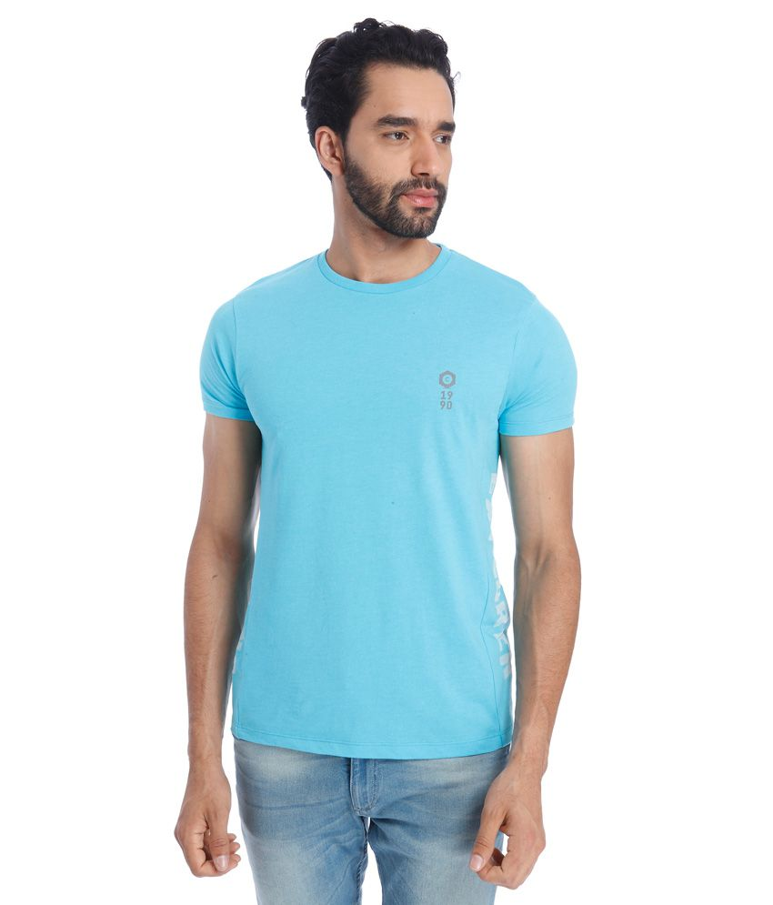 Jack & Jones Blue Round Neck Half Sleeves Sleeves Solids T-Shirt