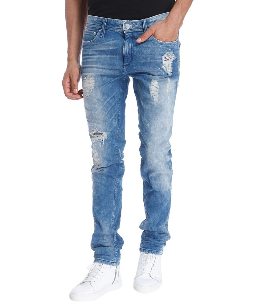 Jack & Jones Blue Slim Fit Faded Jeans