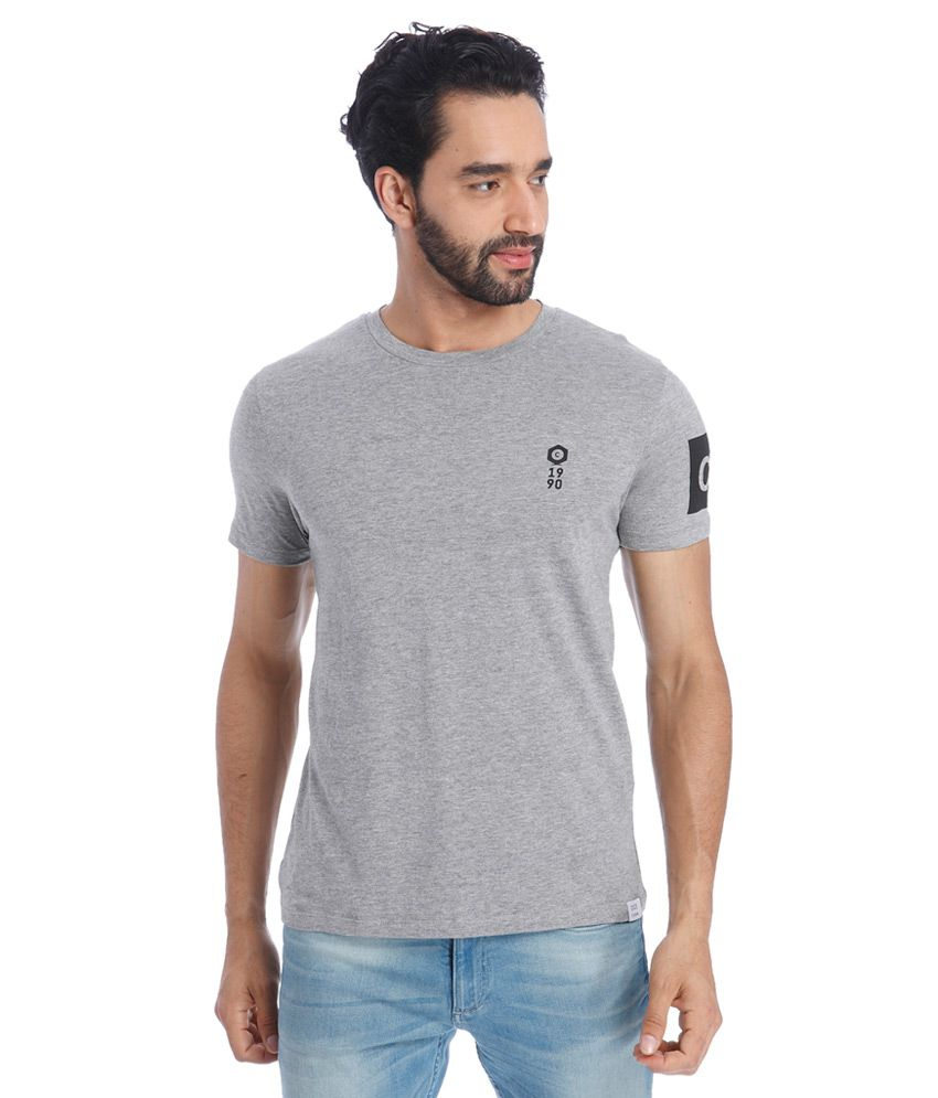 Jack & Jones Grey Round Neck Half Sleeves Solids T-Shirt