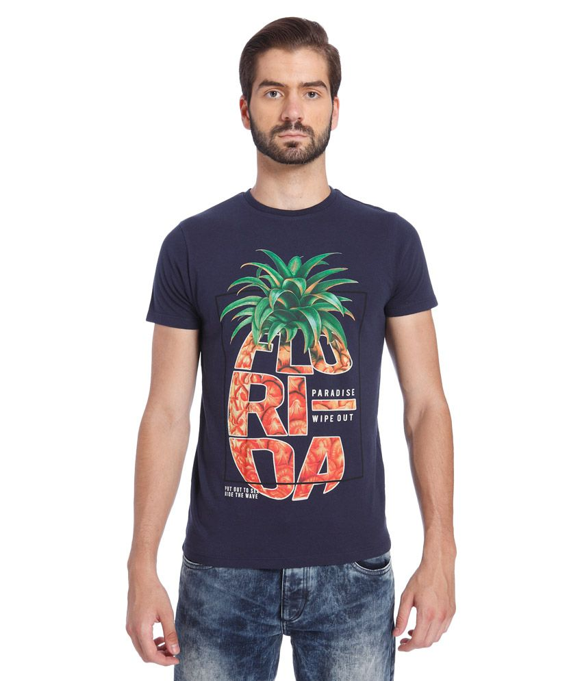 Jack & Jones Navy Round Neck Half Sleeves Printed T-Shirt