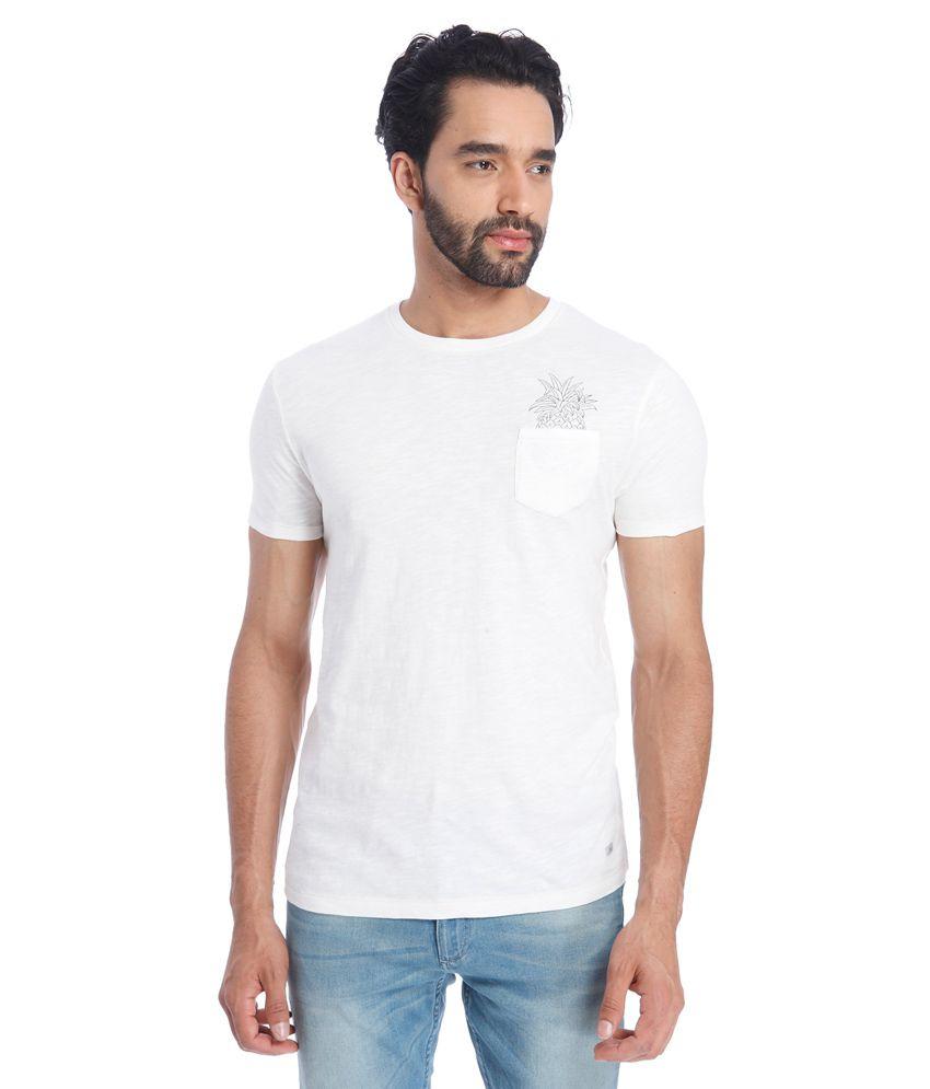 Jack & Jones White Round Neck Half Sleeves Sleeves Solids T-Shirt