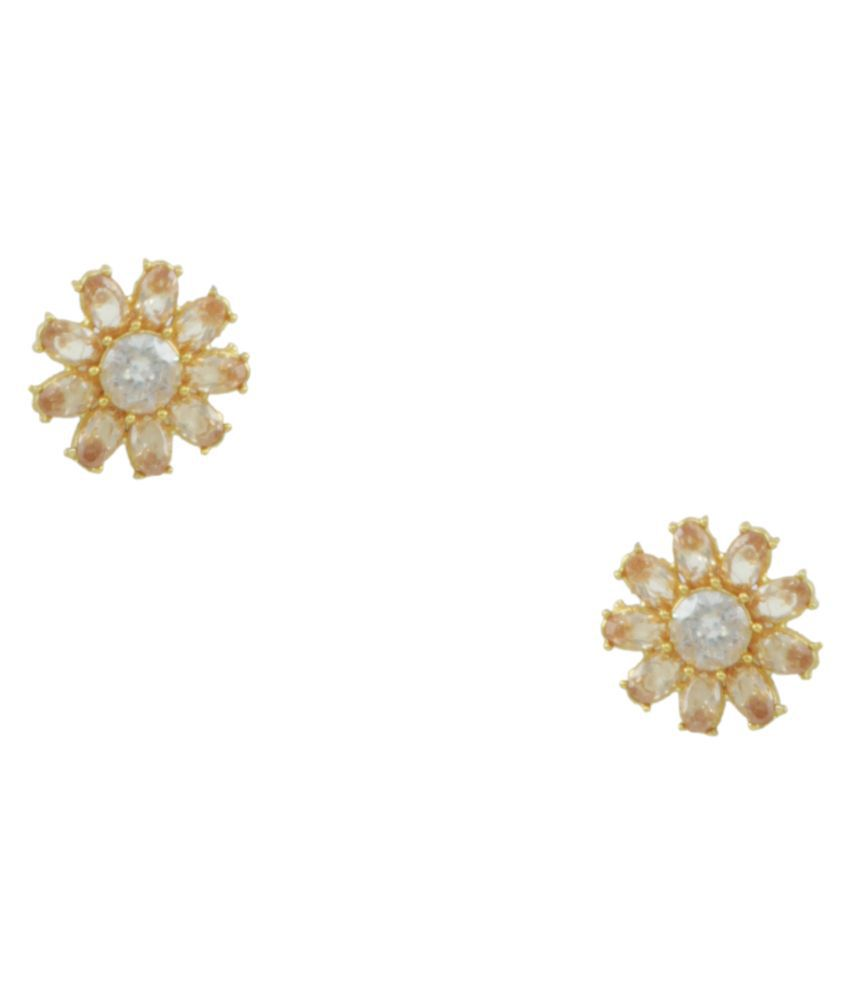 Orniza Brass Gold Plating Cubiz Zirconia Studded Beige Coloured Earrings