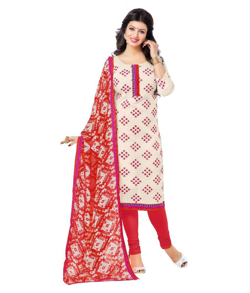 Mezona Beige Chanderi Straight Unstitched Dress Material